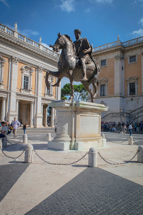 Equestrian statue of Marcus Aurelius, Capitoline Piazza del Campidoglio, the square of the Hill, was one of the first great Renaissance designs, by Michelangelo