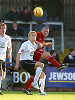 Photo: Dave Linney.<br />Hereford United v Walsall. Coca Cola League 2. 18/11/2006. Walsall's Michael Dobson(R) battles for thr ball with  Alan Connell.