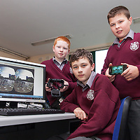 Adam Daniels, Patrick Sheridan and Darragh Bennis, from Meánscoil Na Mbráithre, Ennistymon, hoping to develop the worlds first virtual tourism system using a combination of 3-D goggles, a game development platform and 3-D models.