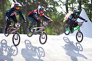 #99 (GEORGE Danielle) USA, #370 (CLAESSENS Zoe) SUI and #364 (LUTTRELL Baylee) NZL during practice at Round 5 of the 2018 UCI BMX Superscross World Cup in Zolder, Belgium