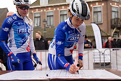 Roxane Fournier signs on at Drentse 8 van Westerveld 2018 - a 142 km road race on March 9, 2018, in Dwingeloo, Netherlands. (Photo by Sean Robinson/Velofocus.com)