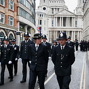 The funeral of former Prime Minister Margaret Thatcher who died Monday April 8. Police getting ready for the procession to arrive.