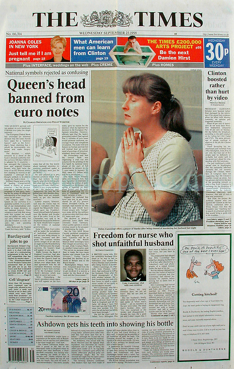 23 Sept 1998. Fort Lauderdale, Florida.<br /> The Times, front page. <br /> Helen Cummings prays as she hears the jury's 'not guilty' verdict. In an extremely controversial case with racial overtones, the 8 months pregnant mother of an 18 month old faced a murder charge. Mrs Cummings shot and killed her husband on Valentine's day earlier that year. My partner and I had covered the story from the get go when we first heard of the shooting. Mrs Cummings had discovered a photograph of a naked woman under the driver's seat of her husband's car earlier on the day she shot and killed him. She claimed her husband was a lying, cheating bully who regularly threatened her with a gun and had written a faux suicide note for her to find when she returned from work that day. The state claimed Mrs Cummings had shot her husband in cold blood whilst he slept, yet her defense attorney managed to convince the jury that Mr Cummings had acted in self defense, her husband having entered the bedroom threatening to kill his wife. Fearing for her life she had grabbed a revolver the couple kept in the bedroom and unloaded 6 shots from a .38 caliber revolver into her husband. 'I just kept firing until it went click, click, click. He was going to kill me,' she claimed. Mrs Cummings did not know she was pregnant a second time until she was arrested and tested in jail. Upon hearing the verdict Mrs Cummings' father said, 'There are no winners here, we are all losers.' The victim Terry Cummings' brother John cried foul of the all white jurors. 'This is white man's justice,' he declared. Helen Cummings' claimed she did not know how to shoot a gun, a claim that differs from investigations we made with local gun clubs, one of whom claimed Terry Cummings brought his wife in on several occasions to teach her how to shoot a .38 caliber revolver, a fact not revealed in court. Mrs Cummings returned to England following the verdict.<br /> Photo; Charlie Varley.
