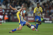 Jonathan Calleri of West Ham United takes a shot at goal. EFL Cup, 3rd round match, West Ham Utd v Accrington Stanley at the London Stadium, Queen Elizabeth Olympic Park in London on Wednesday 21st September 2016.<br /> pic by John Patrick Fletcher, Andrew Orchard sports photography.