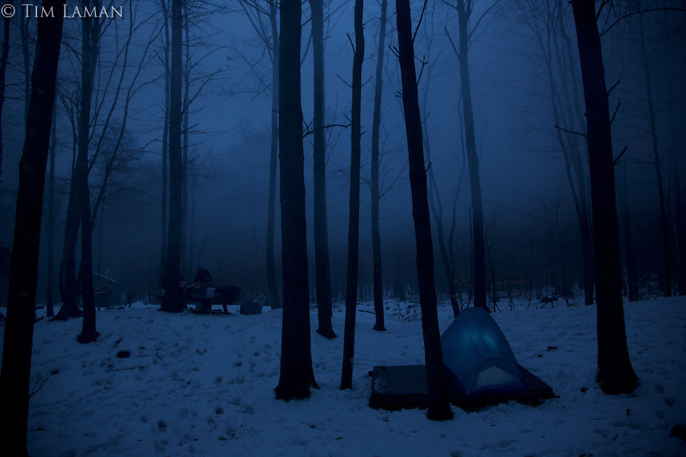 Winter camping in New Hampshire.