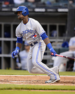 CHICAGO - MAY 16:  Jonathan Davis #49 of the Toronto Blue Jays bats against the Chicago White Sox on May 16, 2019 at Guaranteed Rate Field in Chicago, Illinois.  (Photo by Ron Vesely)  Subject:  Jonathan Davis