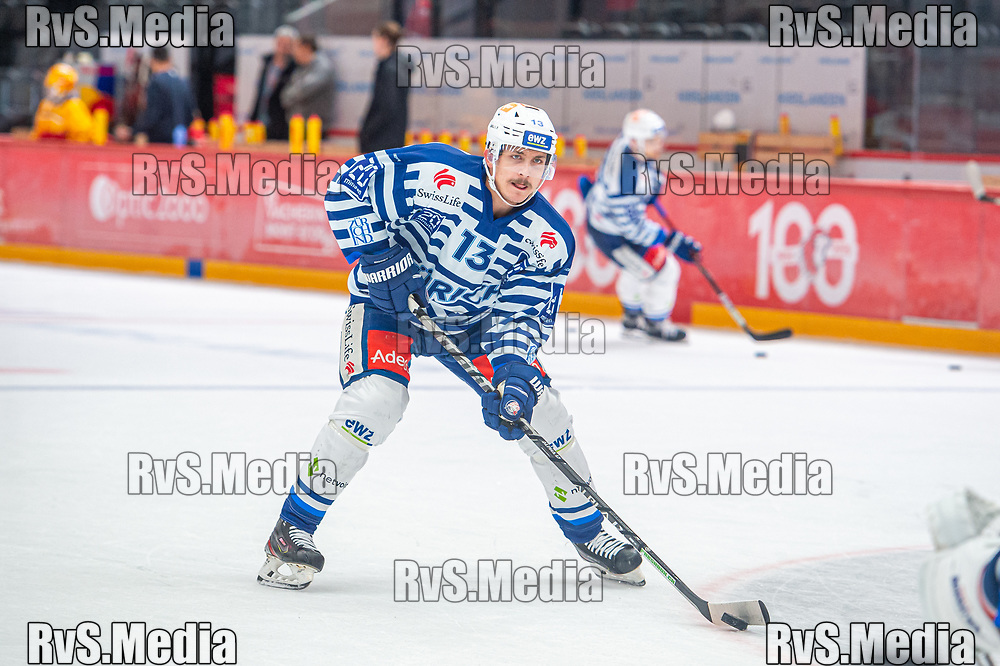 LAUSANNE, SWITZERLAND - OCTOBER 01: Justin Sigrist #13 of ZSC Lions warms up prior the Swiss National League game between Lausanne HC and ZSC Lions at Vaudoise Arena on October 1, 2021 in Lausanne, Switzerland. (Photo by Monika Majer/RvS.Media)