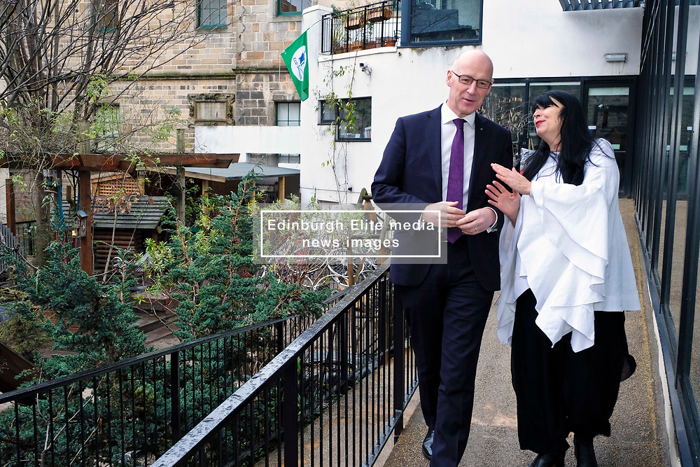 Pictured: Mr Swinney chats with manager Lynn McNair<br /> Deputy First Minister John Swinney visited Cowgate Nursery in Edinburgh to meet children, staff and modern apprentices working in early years and childcare. Mr Swinney confirmed that a record number of early years apprenticeships are expected to start this year as part of the expansion of free nursery and childcare.  Mr Swinney toured the nursery and discussed the City of Edinburgh Council's plans to expand the early years and childcare workforce and met with modern apprentices as well as Jake Stefanovic, an ambassador from the Scottish Government's childcare recruitment campaign.<br /> <br /> <br /> Ger Harley   EEm 13 February 2018