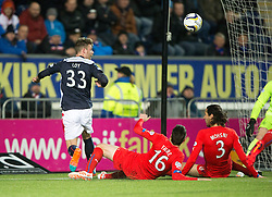 Falkirk's Rory Loy. and Rangers Sébastian Faure and Rangers Bilel Moshsni. Falkirk 1 v 1 Rangers, Scottish Championship game played 27/2/2014 at The Falkirk Stadium .