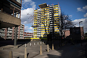 Council flats in Barbican, London, United Kingdom. Council estates like this are very common all over the capital, which is the most densely populated area in the UK.