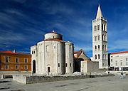 Saint Donatus' Church (Crkva sveti Donata) and the belltower of the Cathedral of St. Anastasia (Katedrala sv. Stosije). Zadar, Croatia