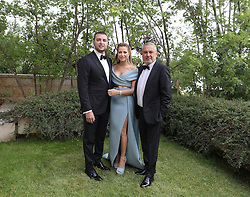 L-R : Elie Saab Jr and his parents Claudine and Elie Saab at Elie Jr wedding, in Faqra, Lebanon on July 18, 2019. The wedding is among the most incredible weddings of 2019, included four wedding outfits, over a million sequins and 1,200 guest. Photo by Balkis Press/ABACAPRESS.COM