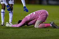 Shrewsbury Town Goalkeeper Matija Šarkić is hurt during the EFL Sky Bet League 1 match between Lincoln City and Shrewsbury Town at Sincil Bank, Lincoln, United Kingdom on 15 December 2020.
