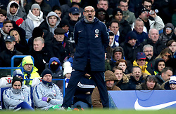 Chelsea manager Maurizio Sarri shouts from the touchline during the Premier League match at Stamford Bridge, London.