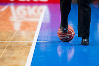 Referee taking the ball during match of Liga Endesa at Barclaycard Center in Madrid. September 30, Spain. 2016. (ALTERPHOTOS/BorjaB.Hojas)