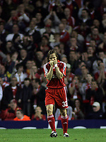Photo: Paul Thomas.<br /> Liverpool v PSV Eindhoven. UEFA Champions League. Quarter Final, 2nd Leg. 11/04/2007.<br /> <br /> Bolo Zenden of Liverpool rues a great missed chance on goal with his penalty.