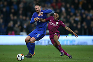 Sean Morrison of Cardiff city (l) holds off Raheem Sterling of Manchester city (r). The Emirates FA Cup, 4th round match, Cardiff city v Manchester City at the Cardiff City Stadium in Cardiff, South Wales on Saturday 28th January 2018.<br /> pic by Andrew Orchard, Andrew Orchard sports photography.