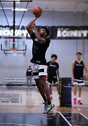 G League Ignite's Jaden Hardy puts up a jump shot during a workout with the team on Tuesday, Sept. 28, 2021 in Walnut Creek, Calif.