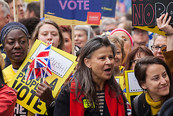 London, UK. 23rd March, 2019. Actress Tracey Ullman joins a million people taking part in a Put It To The People for a People's Vote march through central London before attending a rally in Parliament Square.