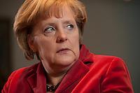26 MAR 2009, BERLIN/GERMANY:<br /> Angela Merkel, CDU, Bundeskanzlerin, waehrend einem Interview, in ihrem Buero, Bundeskanzleramt<br /> Angela merkel, CDU, Federal Chancellor of Germany, during an interview, in her office, Federal Chancellory<br /> IMAGE: 20090326-02-011