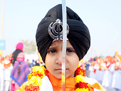 """January 1, 2018 - Jammu, Jammu and Kashmir, India - Sikhs organised a colorful """"nagar kirtan"""" (religious procession) in the city ahead of Guru Gobind Singh's birth anniversary today..The most important and major festival of the community, Prakash Utsav (birth anniversary) of Guru Gobind Singh, the 10th Sikh Guru and founder of the Khalsa Panth is celebrated. (Credit Image: © Shilpa Thakur/Pacific Press via ZUMA Wire)"""