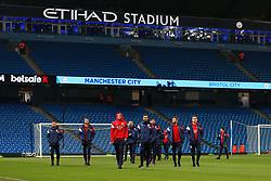 Bristol City players walk on the pitch before kick off - Mandatory by-line: Matt McNulty/JMP - 09/01/2018 - FOOTBALL - Etihad Stadium - Manchester, England - Manchester City v Bristol City - Carabao Cup Semi-Final First Leg