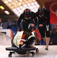 Photo: Catrine Gapper.<br />Winter Olympics, Turin 2006. Womens Bobsleigh. 21/02/2006. <br />Shauna Rohbock and Valerie Flemin of USA.