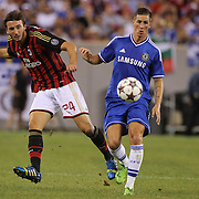 Bryan Cristante, AC MIlan, (left) and Fernando Torres, Chelsea, in action during the Chelsea V AC Milan Guinness International Champions Cup tie at MetLife Stadium, East Rutherford, New Jersey, USA.  4th August 2013. Photo Tim Clayton