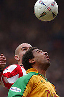 Photo. Javier Garcia<br /> 15/02/2003 Southampton v Norwich, FA Cup 5th Round, St. Mary's Stadium<br /> Norwich's David Nielsen, foreground, and Saints' Danny Higginbottom keep their eyes on the ball
