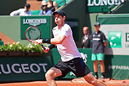 Andy Murray (GBR) is stretched during the mens singles second round of the Roland Garros Tennis Open 2017 at Roland Garros Stadium, Paris, France on 1 June 2017. Photo by Jon Bromley.