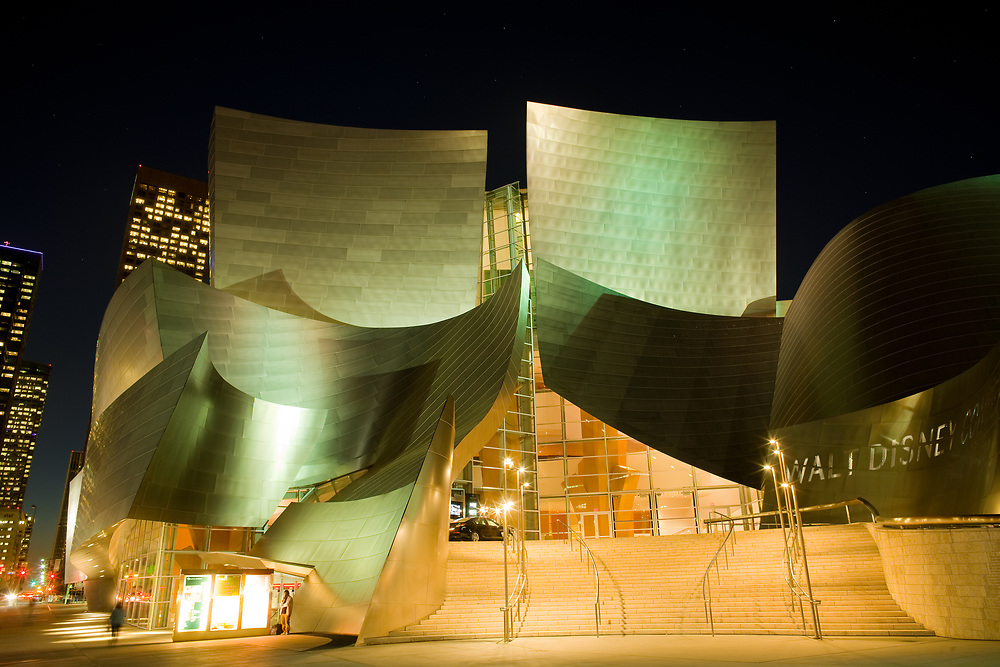 Los Angeles, California, United States - The avant garde architecture of Walt Disney Concert Hall designed by architect Frank Gehry at downtown.