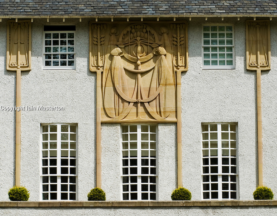 Elegant art nouveau facade of the House For an Art Lover designed by Charles Rennie Mackintosh in Glasgow Scotland