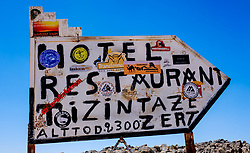 The sign at the top of the Tizi N'Tazezert pass in the Atlas Mountains, Morocco - altiitude 2,300 meters<br /> <br /> (c) Andrew Wilson   Edinburgh Elite media