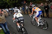 France, October 9 2011: World Champion, Mark CAVENDISH (31) and Bram TANKINK (5) follow Yuriy KRIVTSOV (95) up the Côte de l'Epan climb of the 2011 edition of the Paris Tours cycle race. Copyright 2011 Peter Horrell
