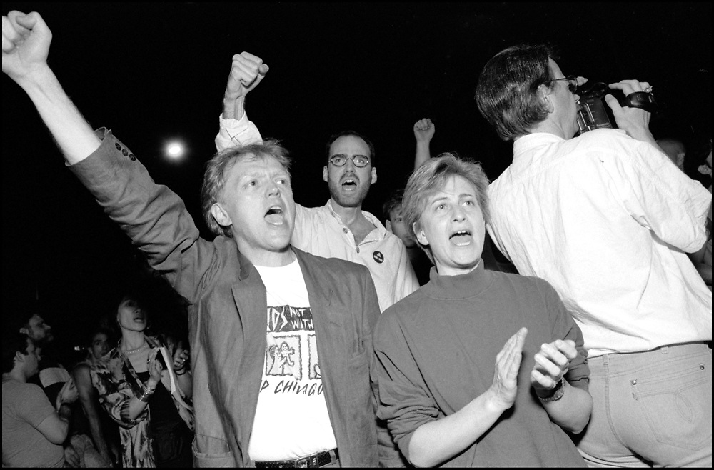 On April 28th, 1990, a pipe bomb exploded at a crowded gay bar, Uncle Charlie's, in New York City. Three people were injured. The following night 1500 people marched through the West Village to express their concern over the increasing incidence of violence directed at gay people and their outrage that the bombing was not designated a bias-related crime. <br /> <br /> Jim Fouratt, Conyers Thompson and Debra Glick pictured.