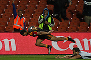 Lelia Masaga scoring the last try of the Chiefs 38-10 win,during the Investec Super 15 Rugby match, Chiefs v Rebels, at Waikato Stadium, Hamilton, New Zealand, Saturday 5 March 2011. Photo: Dion Mellow/photosport.co.nz