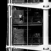 """Paris, France, 1981: Centre Georges Pompidou, front view of the """"Gerberette"""" and outdoor stairs, by Renzo Piano and Richard Rogers Architects. Photographs by Alejandro Sala   Visit Shop Images to purchase and download a digital file and explore other Alejandro-Sala images…"""