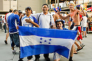 July 18 2009: Honduras fans display a flag during the game between USA and Panama. Honduras beat Canada in the first game of a double header. The United States defeated Panama 2-1 in added extra time in a CONCACAF Gold Cup quarter-final match at Lincoln Financial Field in Philadelphia, Pennsylvania.