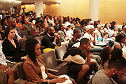 May 19, 2012 -New York, NY-United States:  Audience attends the Question Bridge: Black Male Blue Print Round Table moderated by Dr. Khalil Gibran Muhammad and hosted by Kevin Powell and held at the Iris and B.Gerald Cantor Auditorium in the Brooklyn Museum on May 19, 2012 in Brooklyn, New York. Question Bridge: Black Males is a transmedia art project that seeks to represent and redefine Black male identity in America. Question Bridge: Black Males was created by Chris Johnson and Hank Willis Thomas in collaboration with Bayeté Ross Smith and Kamal Sinclair. The Executive Producers are Delroy Lindo, Deborah Willis and Jesse Williams. (Photo by Terrence Jennings)