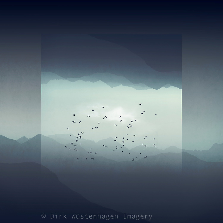 Misty mountains and their digitsl reflections<br /> Redbubble prints & more --> https://rdbl.co/2PtQEv8