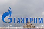 Moscow, Russia, 13/05/2006..Advertising sign for Gazprom on top of a city centre building.