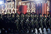 Moscow, Russia, 04/05/2010..Soldiers march at a night time rehearsal in Red Square for the forthcoming May 9 Victory Day parade, scheduled to be the largest for many years.