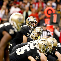 November 25, 2012; New Orleans, LA, USA; New Orleans Saints quarterback Drew Brees (9) at the line against the San Francisco 49ers during the first quarter of a game at the Mercedes-Benz Superdome. The 49ers defeated the Saints 31-21. Mandatory Credit: Derick E. Hingle-US PRESSWIRE