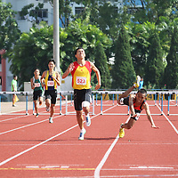 Choa Chu Kang Sports Complex, Monday, April 15, 2013 — Jack Tan of Hwa Chong Institution won the B Division 400 metres hurdles gold in a time of 59.56 seconds at the 54th National Schools Track and Field Championships. His teammate, Ow Yeong Wei Bin, was second in 1:00.78.<br /> <br /> Story: http://www.redsports.sg/2013/04/20/b-div-boys-400m-hurdles-jack-tan-hwa-chong-institution/