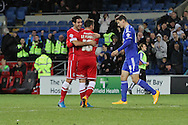 Adam Le Fondre of Cardiff celebrates scoring his side's third goal with Peter Whittingham.<br /> <br /> Skybet Football League Championship match, Cardiff City v Ipswich Town at the Cardiff city stadium in Cardiff, South Wales on Tuesday 21st October 2014<br /> pic by Mark Hawkins, Andrew Orchard sports photography.