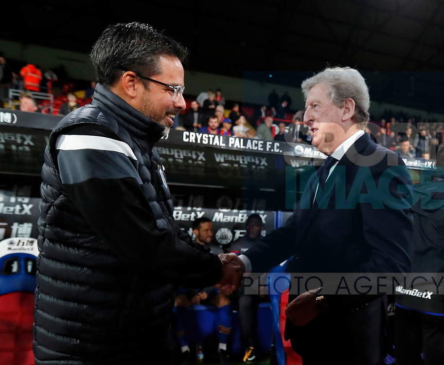 Crystal Palace's Roy Hodgson with Huddersfield's David Wagner during the Carabao cup match at Selhurst Park Stadium, London. Picture date 19th September 2017. Picture credit should read: David Klein/Sportimage