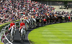A general view as Queen Elizabeth II arrives during day five of Royal Ascot at Ascot Racecourse.