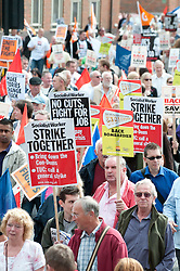 © Licensed to London News Pictures. 23/7/2011. Derby, UK. Union members and members of the general public marched today (23/07/2011) in Derby against job cuts at Bombardier, the UK's last remaining train maker. Approximately 1400 jobs are due to be cut at Bombardier after German manufacturer Siemens were announced as the preferred bidder for the Government Thameslink contract worth an estimated £1.4bn. Photo credit : Tim Goode/LNP