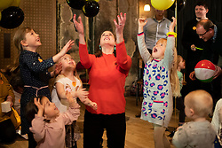 © Licensed to London News Pictures. 09/11/2019. London, UK. Leader of the Liberal Democrats Jo Swinson interacts with children at her party's Rally for the Future at Battersea Arts Centre .  Photo credit: George Cracknell Wright/LNP