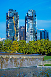 USA, Washington, Bellevue. Downtown skyline with Bellevue Towers from Downtown Park.